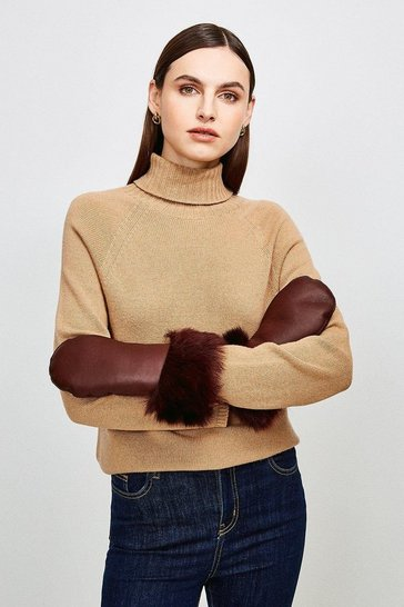 Wine Leather And Shearling Mittens