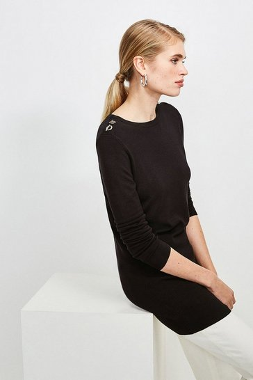 Black Trim Detail Knitted Tunic