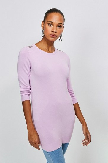 Lilac Trim Detail Knitted Tunic