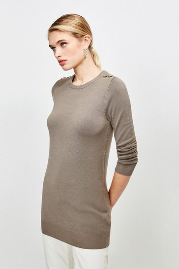 Sage Trim Detail Knitted Tunic