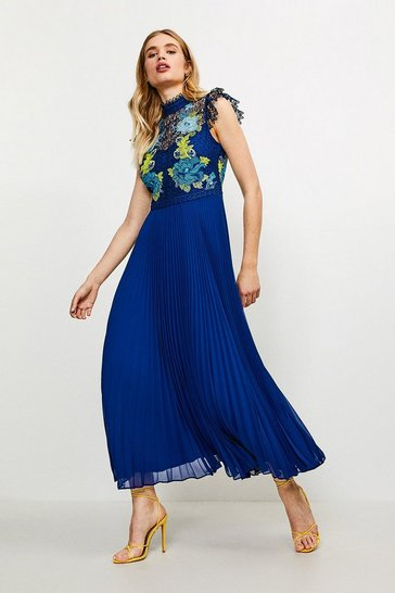 Blue Cutwork Lace Pleated Midi Dress