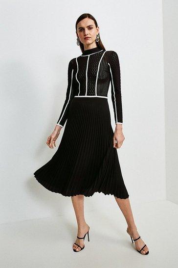 Black Tipped Pointelle Knit Dress