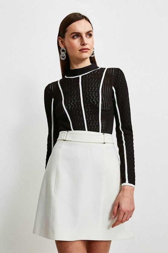 Black Tipped Pointelle Knit Jumper