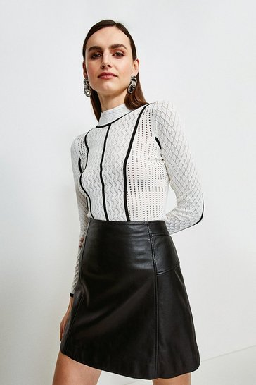 Ivory Tipped Pointelle Knit Jumper