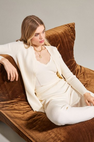 Cream Rib Knit Corset Cardigan