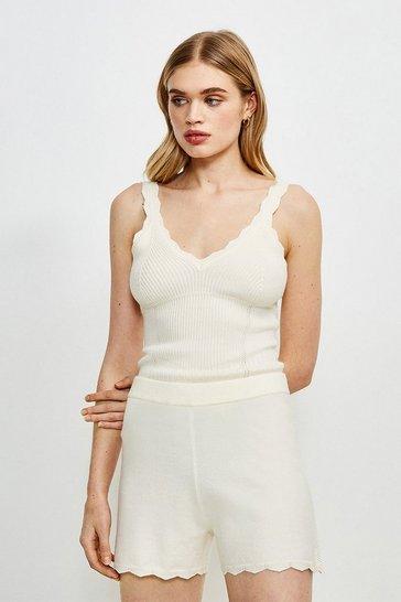 Cream Rib Knit Corset Shorts