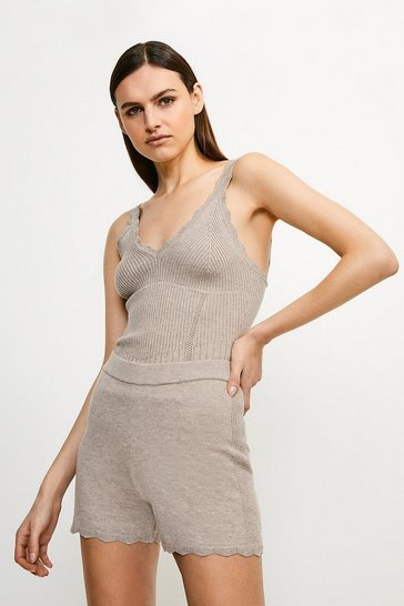 Taupe Rib Knit Corset Shorts