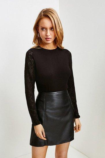 Black Lace Knit Sleeve Jumper