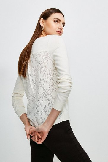 White Lace Knit Back Jumper