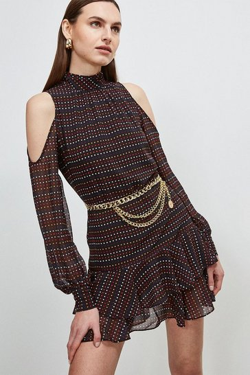 Black Cold Shoulder Ruffle Spot Dress
