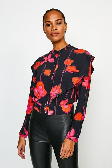 Black Ruffle Shoulder Detail Floral Top