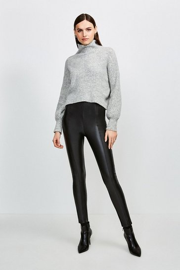 Black Faux Leather And Ponte Legging