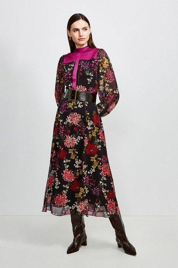 Magenta Quilt Detail Floral Midi Dress