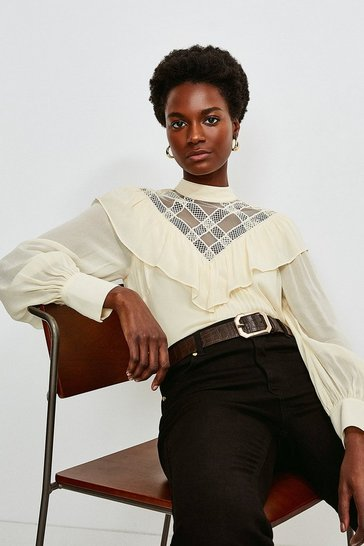 Ivory Embroidered Pintuck Detail Blouse