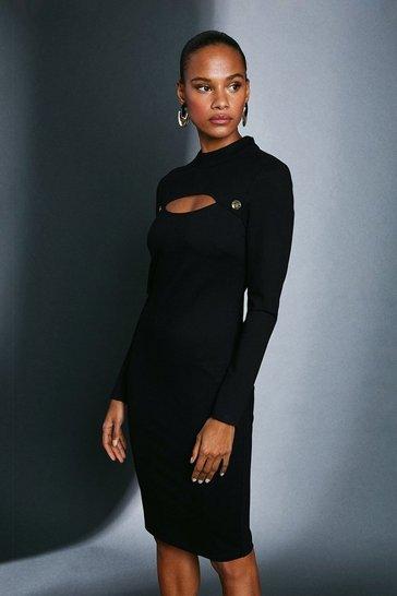 Black Rivet And Cut Out Ponte Dress