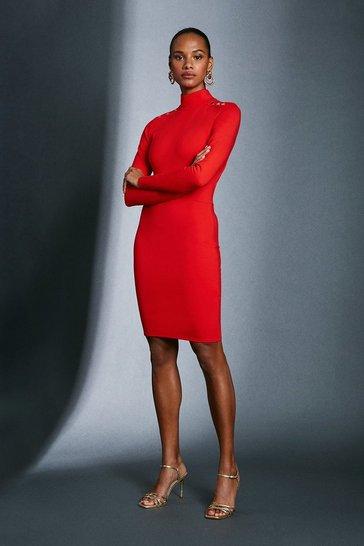 Red Strong Shoulder Open Back Ponte Dress