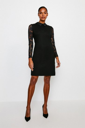 Black Lace Sleeve Collar Ponte Dress