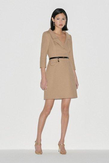 Camel Black Label Italian Stretch Wool Collared Dress