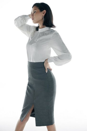 Grey Italian Stretch Wool Pencil Skirt