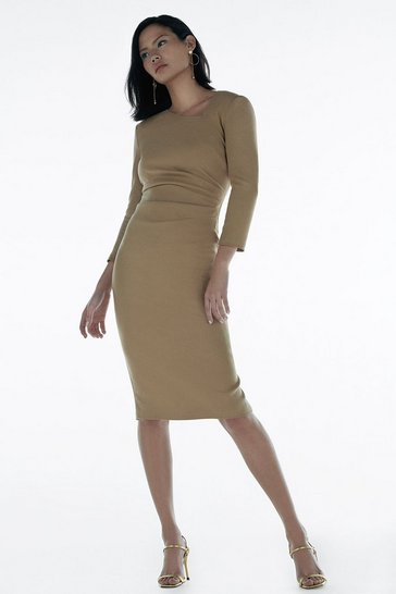 Camel Italian Stretch Wool Tuck Dress