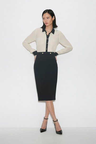 Black Italian Compact Milano Jersey Skirt