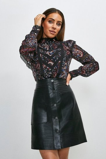 Navy Textured Paisley Print Lace Detail Top