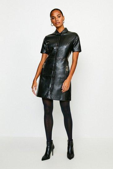 Black Crocodile Faux Leather Shirt Dress