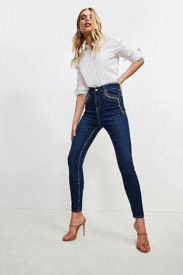 Indigo Hotfix Pocket Skinny Jean
