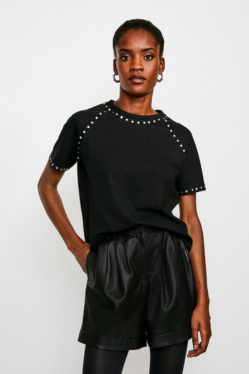 Black Stud Detail Jersey T Shirt