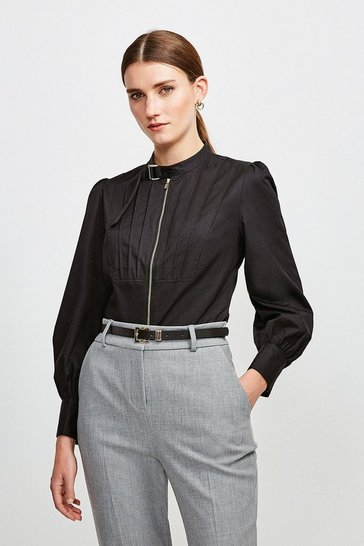 Black Poplin Blouse With Pleat And D Ring Detail