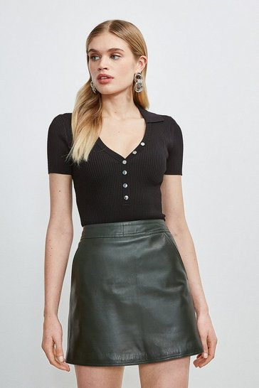 Olive Leather Mini Skirt