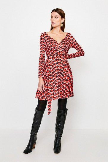 Geo Slinky Wrap Front Jersey Dress