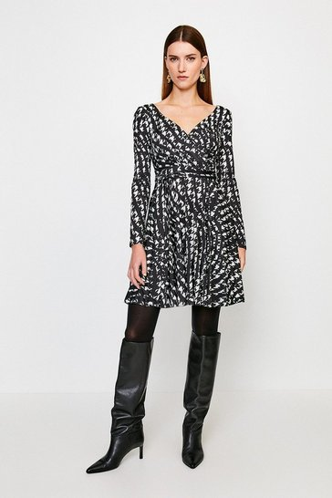 Mono Slinky Wrap Front Jersey Dress