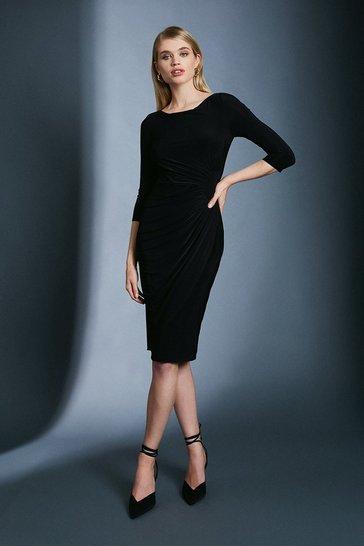 Black Slinky Rouched Midi Jersey Dress