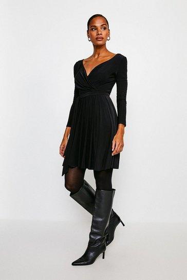 Black Slinky Wrap Front Dress