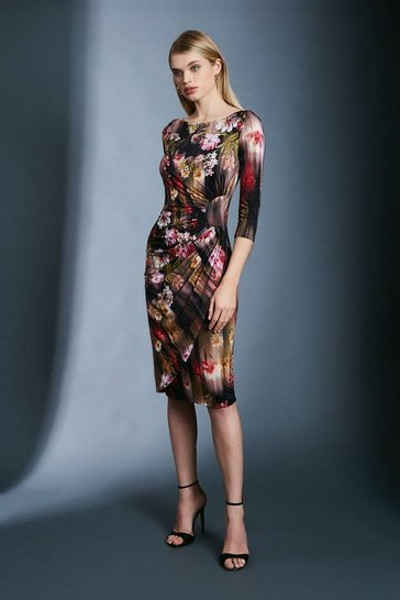Floral Slinky Rouched Midi Jersey Dress