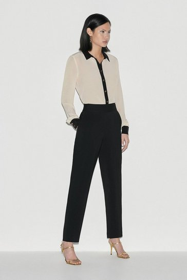 Black Italian Compact Stretch Cigarette Trouser
