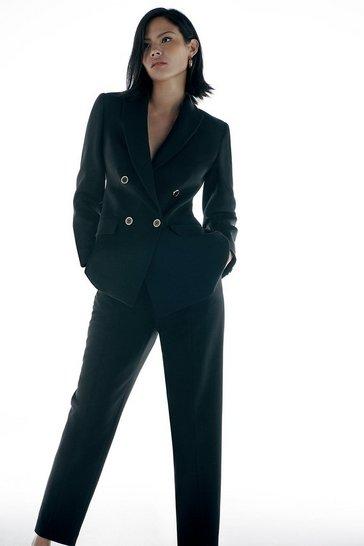 Black Italian Compact Stretch Tailoring DB Jacket