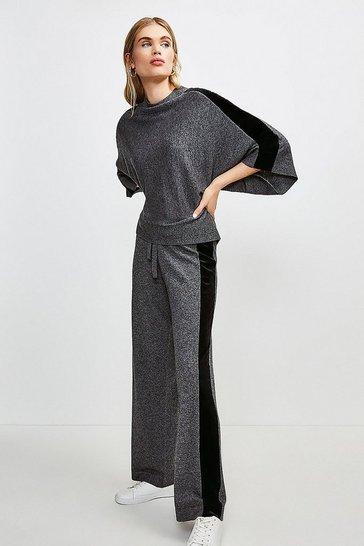 Grey Velvet Panel Knit Jogger