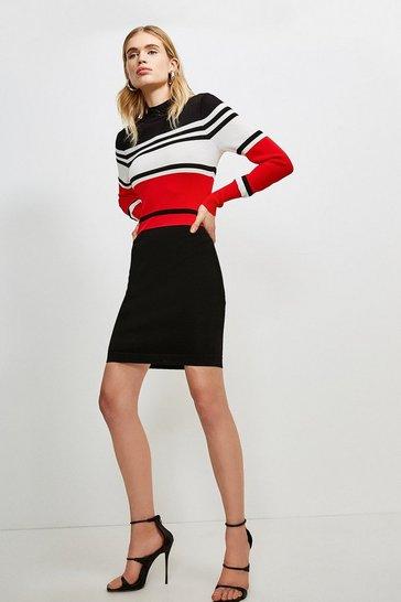 Red Colour Block Stripe Knit Dress