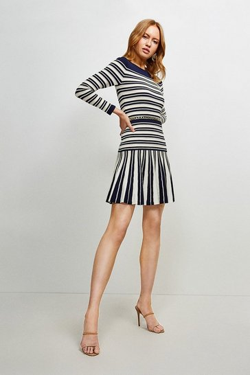 Navy Ottoman Knit Stripe Flippy Dress