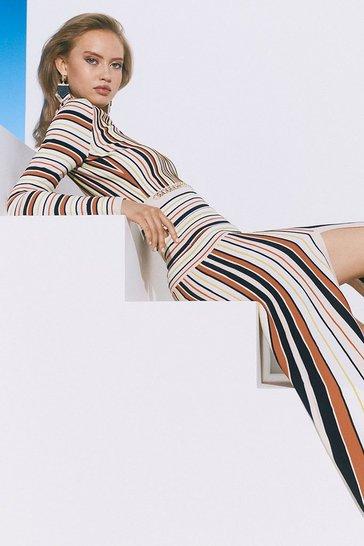 Multi Ottoman Knit Stripe Maxi Dress