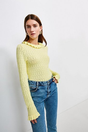 Lemon Frill Collar Pointelle Knit Jumper