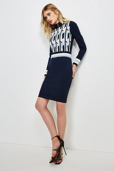 Blue Geo Stripe Knitted Dress