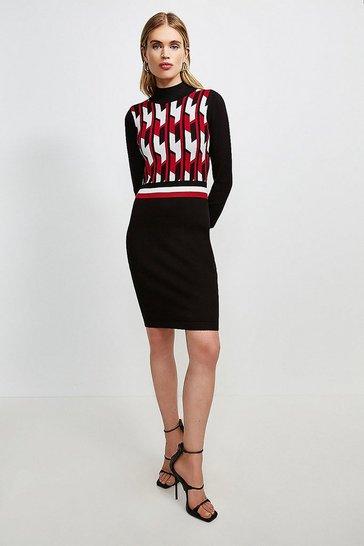 Red Geo Stripe Knitted Dress