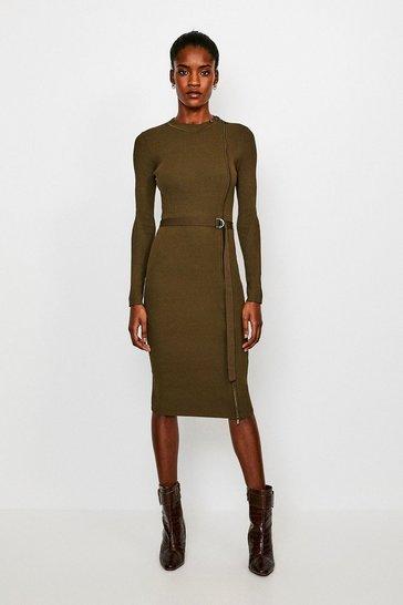 Khaki Zip Front Rib Knit Dress
