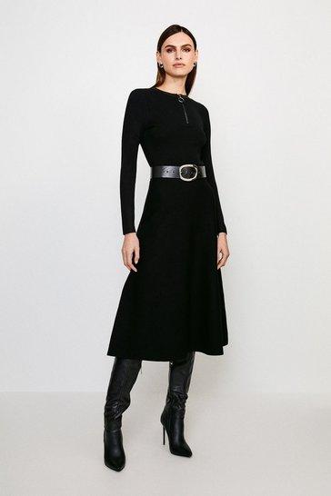 Black Zip Front Knit Dress