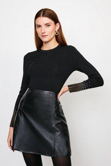Black Embellished Cuff Knitted Jumper
