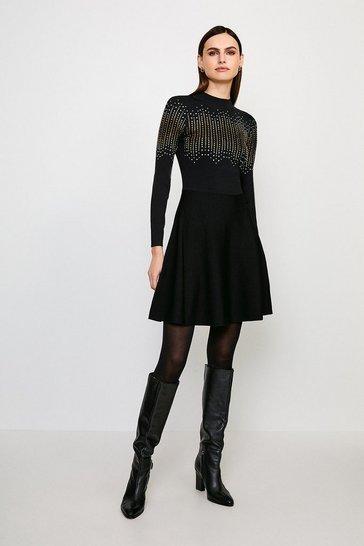 Black Embellished Knitted Dress