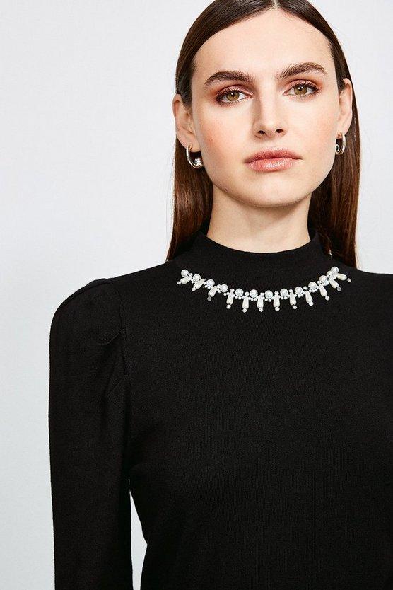 Black Embellished Neck Knitted Jumper